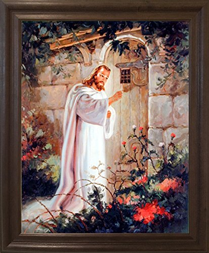Framed Wall Picture Jesus Christ Knocking at The Door Religious and Spiritual Brown Rust Art Print Poster (19x23)