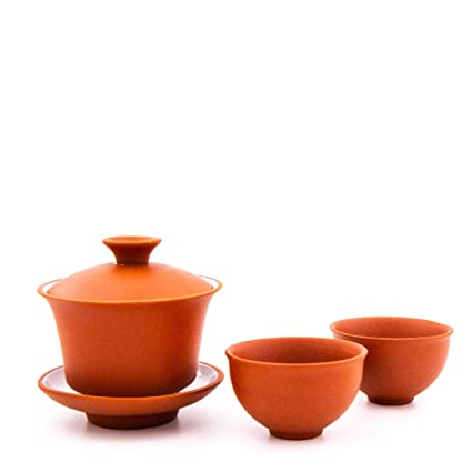 Gaiwan 100/ml serving pot Ausschankkanne 6/x tea cups with tea ceremony service for 1-6/tea lovers internally enamelled. 1x Kanne