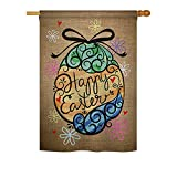 Ornament Collection H192022 Colourful Happy Easter Egg Decorative Vertical Sleeve House Flag, Multicolor, 28″ x 40″