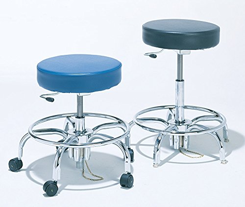 BioFit Static-Control Stool, Adjustable; w/Casters, Navy, Dissip. Wool, Bench H 27-32