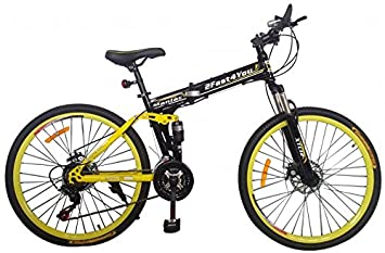 """2Fast4You - Bicicleta de montaña plegable (26"""", doble suspensión) amarillo negro/"""