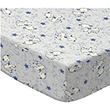 LO Beautiful Navy Blue White Baby Lambs Mini Fitted Crib Sheet, Animal Themed Nursery Bedding, Infant Child Stars Farm Sheep Bows Nature Soft Durable Portable Cute Adorable, Cotton