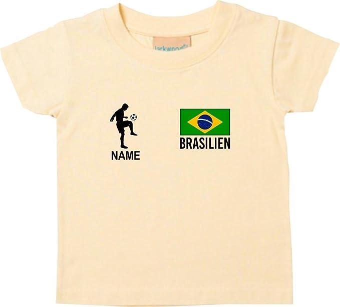 Shirtstown Kids Camiseta Camiseta de Fútbol Brasil con Su Nombre Deseado Estampado - Amarillo Claro,