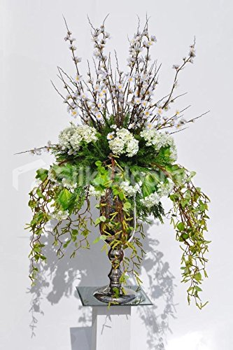 Large White Cherry Blossom and White Flora Floral Arrangement with Draping Greenery (Cherry Blossom Large Vase)