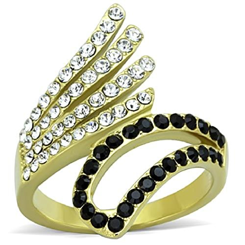 - Women's Stainless Steel Ion Gold Plating Clear & Black Crystal Cocktail Ring, Size 5,6,7,8,9,10 (6)