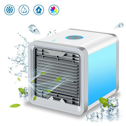 ADDSMILE Portable Air Cooler, USB Powered Desktop Evaporative AC, 4-in-1 Personal Air Purifier Humidifier with 7 Colors LED Lights, Compact Household Aromatherapy Machine for Home, Office, Outdoor