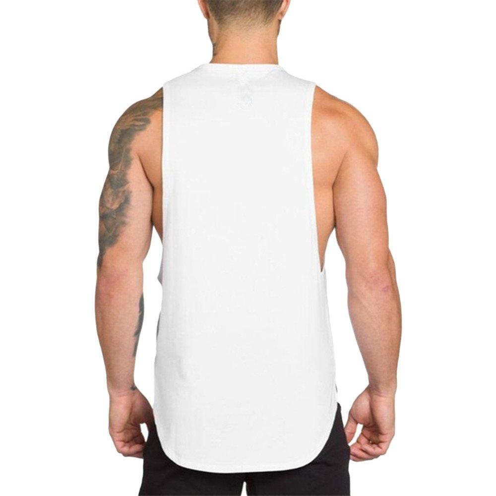 MODOQO Men's Tank Tops Fitness Sleeveless Cotton O-Neck T-Shirt Gym Vest(White,L) by MODOQO (Image #3)