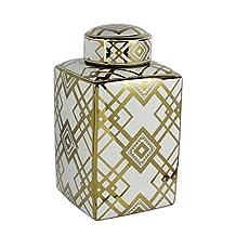 Benzara Square Decorative Motif Ceramic Jar, White and Gold