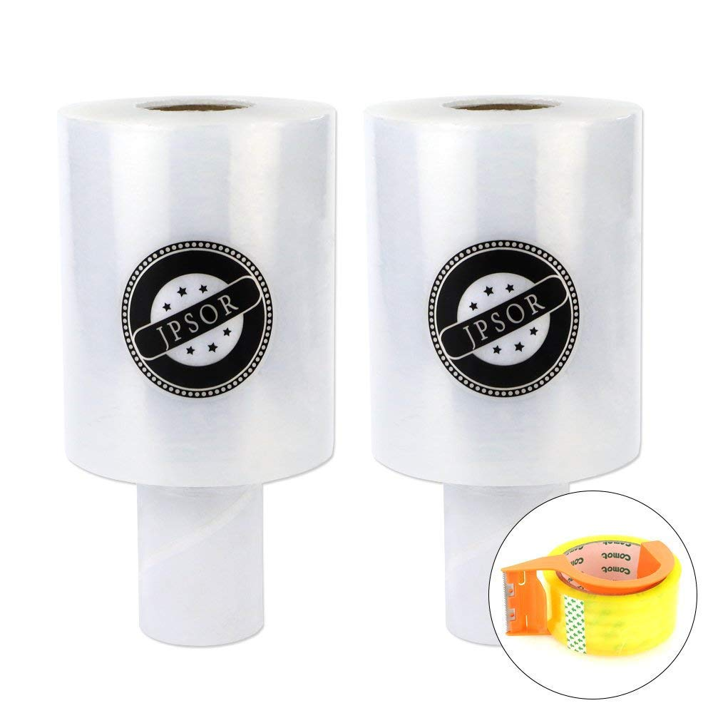 JPSOR 2 Pack Stretch Wrap 5'' x 1000 ft and Packaging Tape with Dispensera,Mini Stretch Wrap Film with Handle for Moving, Packing Wrap
