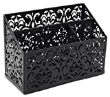 EasyPAG Carved Hollow Flower Pattern Decorative 3 Compartment Desk Organizer Caddy,Black