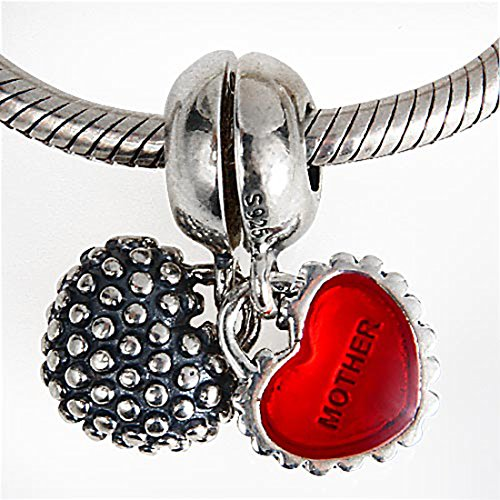 Mother Daughter Son Charm 925 Sterling Silver Enamel Charm Love Heart Charm Family Charm Christmas Birthday Mother's Day Charm Fit Pandora Charms Bracelets or Necklace Pendant (Mother daughter)