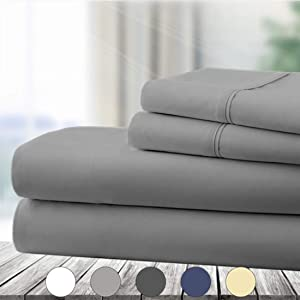 Abakan Full Bed Sheet Set 4 Piece Super Soft Brushed Microfiber 1800 Thread Count Hotel Luxury Egyptian Sheet Breathable, Wrinkle, Fade Resistant Deep Pocket Bedding Sheet Set (Full, Grey)