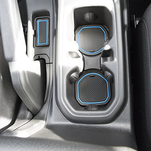 Custom Fit Cup, and Radio Pocket Liner Accessories for JL JLU Jeep Wrangler 2018 2019 13-pc Set (FITS Sports and Rubicon with Cloth Seats ONLY!, Blue Trim)