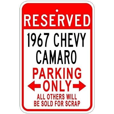 1967 67 Chevy Camaro Aluminium Parking Sign, Aluminium, blanc, 12 x 18 Inches Cuisine & Maison