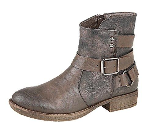 Señoras con cremallera y hebilla botas de tobillo marrón