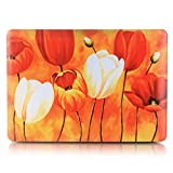 "Neway 2 in 1 bundle Art Fashion Leatherette Top Surface Rubberized Snap-On Hard Cover Case for Apple Macbook,With keyboard Cover,Mac Pro 13"" with CD-ROM(A1278),Colour:YH-33(Tulip Flower)"