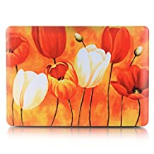 "Neway 2 in 1 bundle Art Fashion Leatherette Top Surface Rubberized Snap-On Hard Cover Case for Apple Macbook,With keyboard Cover,Mac Air 13""(A1466/A1369),Colour:YH-33(Tulip Flower)"