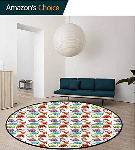 RUGSMAT Jurassic Machine Washable Round Bath Mat,Colorful Cartoon Herbivore Foam Mat Bedroom Decor Bedroom Round-55
