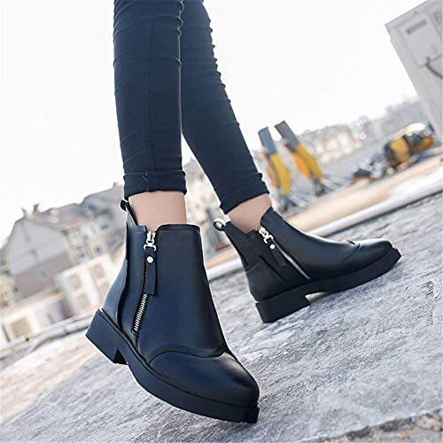 Eu Shoes 37 Short Sed Pu Boots Cylinder Zipper Platform Ladies 's Waterproof 35 nero Low Daily Leisure Women Eu pqOFqxg