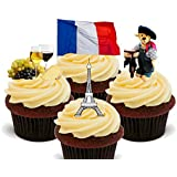 France Fun Pack, Edible Cupcake Toppers - Stand-up Wafer Cake Decorations by Made4You