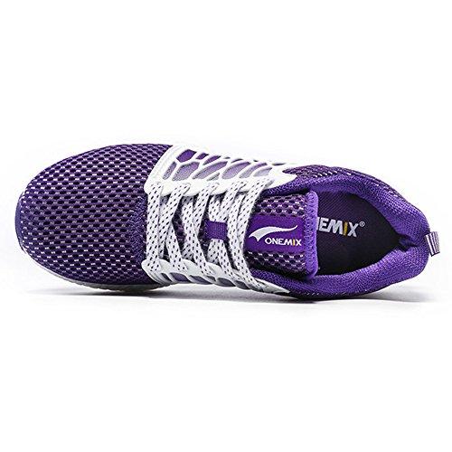 Onemix Scarpe Da Corsa Outdoor Da Donna Traspiranti In Leggero Tessuto Viola / Bianco
