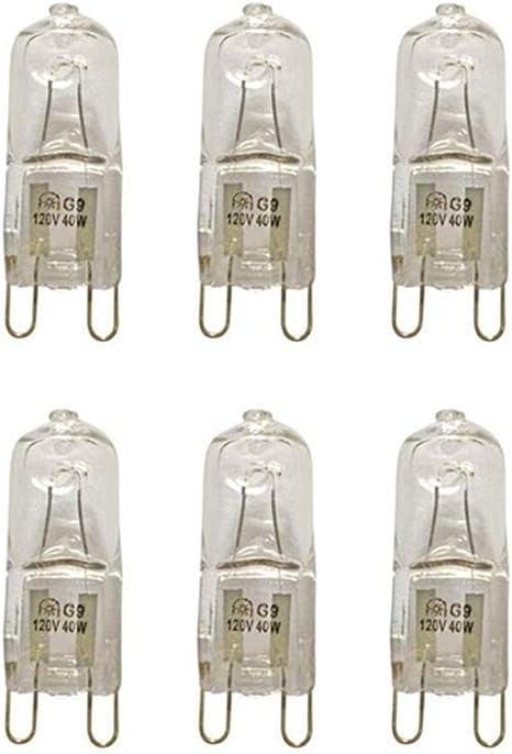 VSTAR G9 Halogen Bulb,40W,120V,Clear,2700K G9 Bi-pin Base,G9 Halogen Lamps 6 Pack