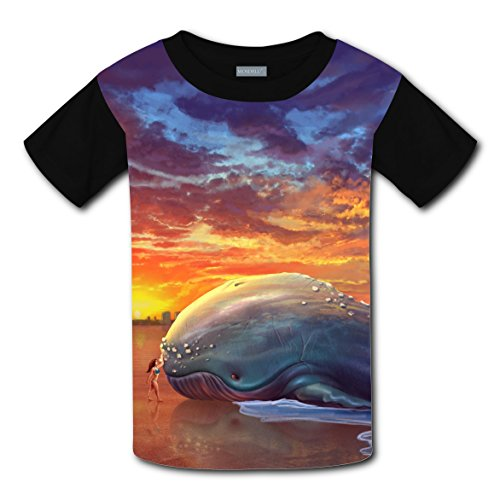 100% Cotton New Fashion Tshirts 3D Custom Printed With Beached Whale For Boys Girls XS (Halloween Miami Zoo)