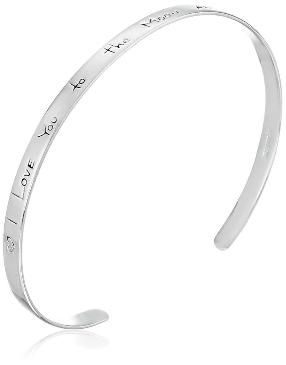 Sterling Silver ''I Love You to the Moon and Back'' Cuff Bracelet, 7''