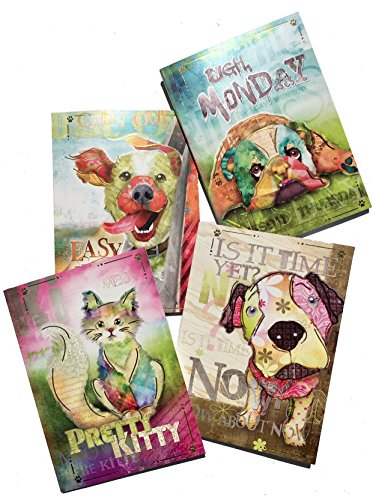 Good Dog by Connie Haley Set of 4 Assorted Whimsical Soft Cover Gold Foil Journals, 3 Dogs 1 Kitty Cat
