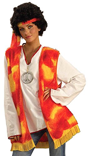 Forum Novelties Men's Generation Hippie Vest and Headband Costume, Multi, One Size (Adult Hippie Costume Vest)