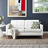 Modern Contemporary Urban Design Living Lounge Room Loveseat Sofa, White, Leather