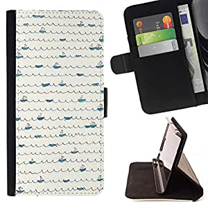 Momo Phone Case / Flip Funda de Cuero Case Cover - Patrón Scribble minimalista Líneas de barcos - Samsung Galaxy S6 Edge Plus / S6 Edge+ G928