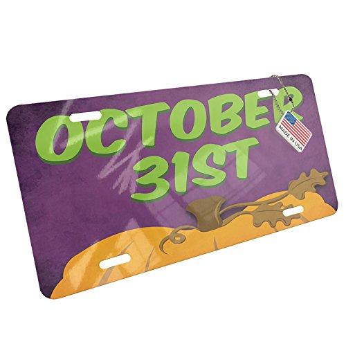 NEONBLOND October 31st Halloween Pumpkin Top Aluminum License Plate -