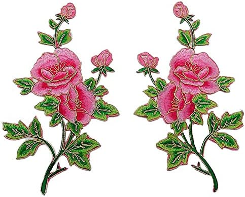 [スポンサー プロダクト]2枚 牡丹 薔薇の花 金のトリミング 刺繍アイロンアップリケワッペン (Rose) [並行輸入品]
