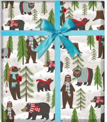 Forest Bears Folded Christmas Wrapping Paper, 2' x 10', Easy to Store Folded Animal Christmas Gift Wrap, WRAP & Revel®