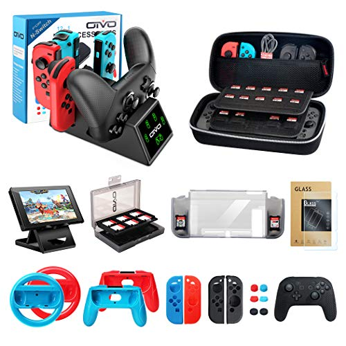 Accessories Kit Bundle for Nintendo Switch, OIVO 12 in 1 Accessory Kit, Controller Charging Dock, Carry Case, Playstand, Case, Joy-Con Grips and Wheels, Game Card Case, Cover Cases, Caps
