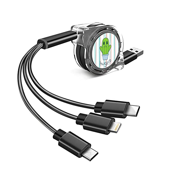 Amazon Com Multi Charger Cable 3 In 1 Stripe Cactus Type C Micro