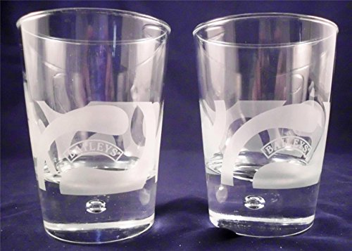 Baileys Irish Cream Whiskey Etched White Wave Logo With a Bubble In The Base Liquor Low Ball Rocks Glasses - (Set of 2)