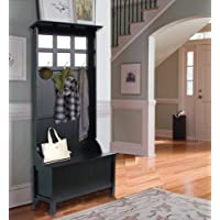 Sturdy but Elegant Hall Tree, Lift Top Storage Bench, Solid Seat, 6 Mirrors Accent the Back Panel, Manufactured Wood Construction, De-Clutter