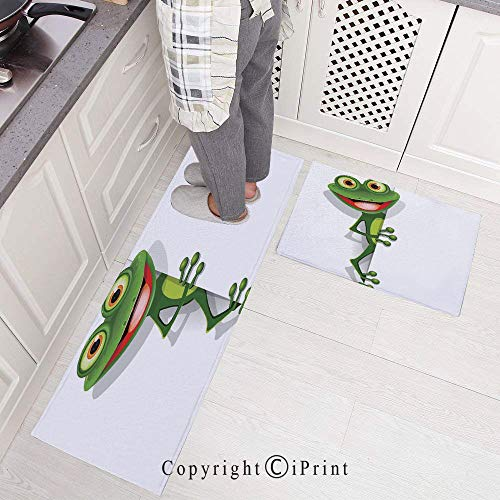 Kitchen Mat Set, 2 Piece Kitchen Rugs Cushioned Chef Non-Slip Rubber Back Floor Mats,Jolly Frog with Greater Eye Lizard Gecko Smily Childish Funny Cartoon Artwork Washable Doormat Bathroom Runner are -