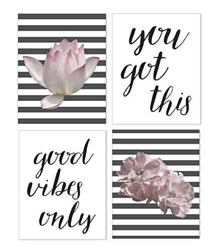 Good Vibes Only Motivational Words and Flower Poster - Inspirational Wall Art for the