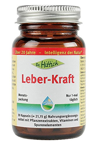Ingwer Kapseln mit Ingwer Extrakt und Granatapfel Extrakt. Leber-Kraft enthält weitere Leber Vitamine und Mineralkomplex aus Vitmain B1, C, E, Selen und Zink in einer Kapsel. 30 Kapseln von Dr. Hittich