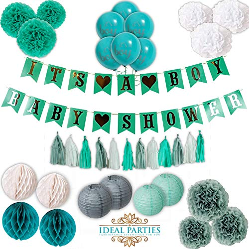 Teal and Grey Baby Shower Decorations for Boy,