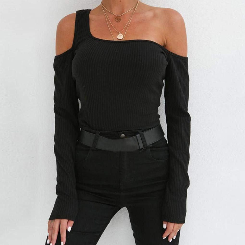QK-Lannister Maglietta da Donna Camicia Maniche Lunghe Ragazza Camicia Monospalla Elegante Autunno Camicia Aderente da Donna Top Tops Donna