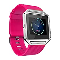 For Fitbit Blaze Watch,Haoricu Luxury Stainless Steel Watch Replace Metal Frame Watch Holder (Hot Pink)