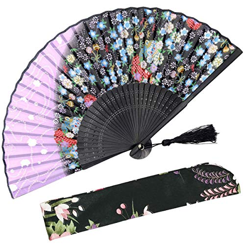 OMyTea Sakura Folding Hand Held Fan for Women - Chinese/Japanese Vintage Retro Style - with a Fabric Sleeve for Protection (WZS-4)