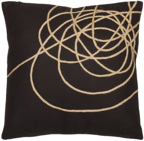Safavieh Pillow Collection Roped 18-Inch Brown and Tan Embroidered Decorative Pillows, Set of 2