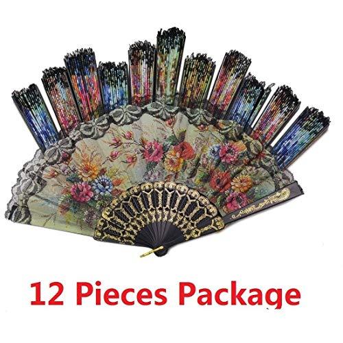 - Tomixxx (1 Dozen 12 Pieces Spanish Floral Folding Hand Fans Gift Size 9
