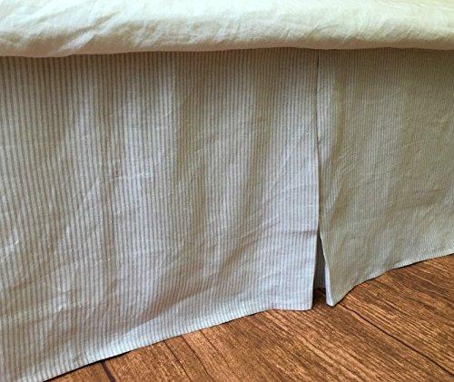 Amazon Com Stone Grey Ticking Striped Tailored Bedskirt Light Grey
