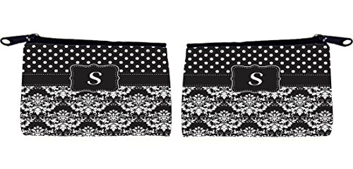 "Rikki KnightTM Initial ""S"" Black & White Damask Dots Design Messenger Bag - - Shoulder Bag - School Bag for School or Work - With Matching coin Purse"